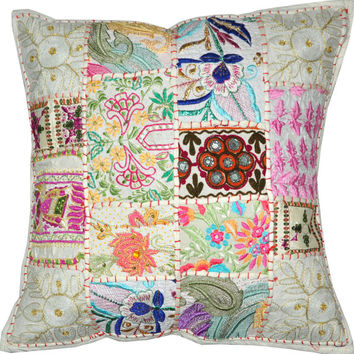 """24"""" Extra Large DecorativeThrow pillow, Indian Vintage patchwork sari couch pillow, Embroidered Tribal Cushion Cover Outdoor Cottage Pillow"""