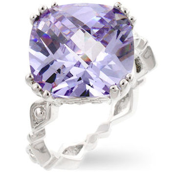 Lavender Cushion Engagement Ring