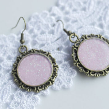 Pink Earrings, Drop Earrings, Bronze, Antique, Glitter Pink, Medium Size Earring, Simple, Everyday Jewelry, Gift, Best Friend Birthday, Boho