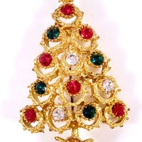 Vintage Christmas Tree Brooch Rhinestone and Gold-tone
