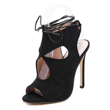 Stylish Summer Design Hollow Out Ring Suede High Heel Sandals [6395076097]