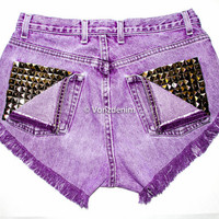 High Waisted Studded Shorts, Vintage Denim Shorts, High Rised Frayed Denim Shorts, Coachella Fashion, Purple Denim Shorts, Plus Size Shorts