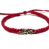 Music Bracelet, Treble Clef Jewelry, Dark Pink Macrame Hemp, Gifts for Her - Ready to Ship