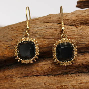 Beaded Trim Earrings, Black