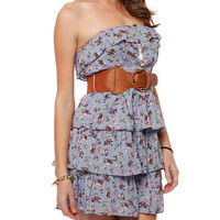 Papaya Clothing Online :: FLORAL PRINT TIERED DRESS /W WIDE BELT