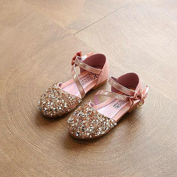 2017 Children Princess Glitter Sandals Kids Girls Soft Shoes Square Low-heeled Dress Party Shoes Pink /Silver/Gold Size21-30 06d