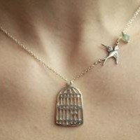 Adorable Silver Birdcage Necklace With Flying by lilyladyblue