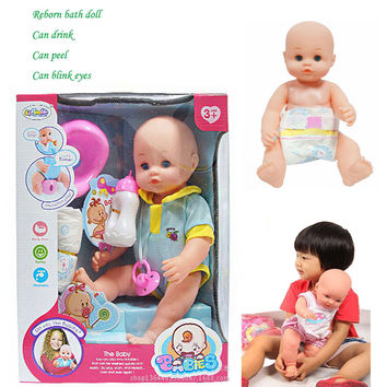 Reborn baby 15 inch Bath wash toy New born baby doll for girls blue pink Lifelike kid baby Pretend Play House toy Color gift box