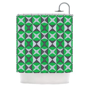 "Empire Ruhl ""Silver and Green Abstract"" Green Black Shower Curtain"