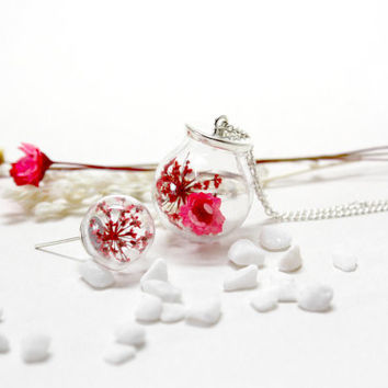 Japanese Style Necklace, Glass Orb Necklace, Natural Dried Flower, Cherry Blossoms