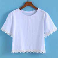 White Short Sleeve Flower Embroidered Cropped T-Shirt