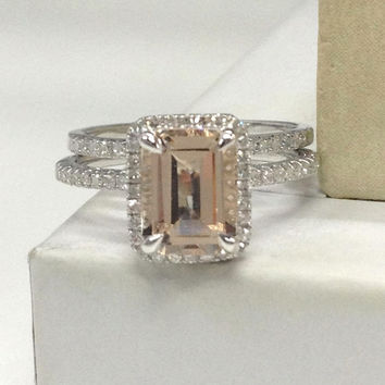 Morganite Wedding Ring Set!Diamond Engagement Ring 14K White Gold,6x8mm Emerald Cut Pink Morganite Gemstone,Stacking Matching Band,eternity