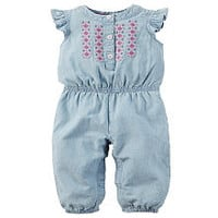Carter's Blue Chambray Embroidered Jumpsuit