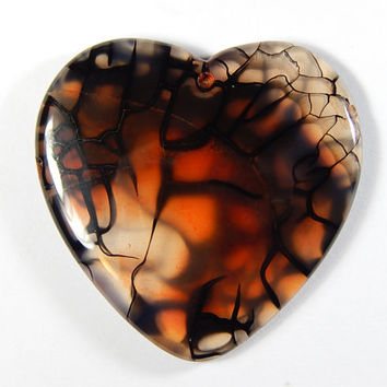 1 Pc - 48x47x7mm Multicolor Dragon Veins Agate Heart Pendant - Focal Bead - Gemstone Pendant - Jewelry Supplies