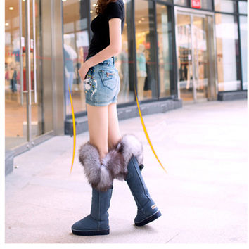Height Increased Winter Boots For Women Waterproof Real Fox Fur Snow Boots Knee High Boots Guneine Leather Warm Shoes