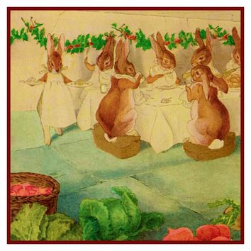 Bunny Rabbit Family Christmas Party inspired by Beatrix Potter Counted Cross Stitch or Counted Needlepoint Pattern