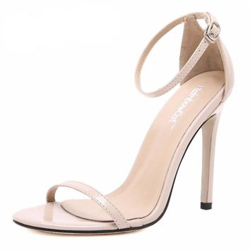 PU leather OL buckle high heels shoes