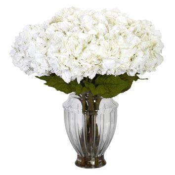 Silk Flowers -Large Hydrangea With European Vase