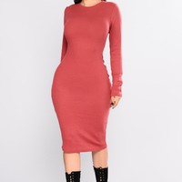 Shaelyn Ribbed Dress - Marsala