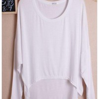 Women Autumn Euro Style Simple Loose Bat-wing Sleeve White Cotton Shirt One Size@WH0036w $8.37 only in eFexcity.com.