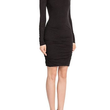 Turtleneck Ruched Stretch-jersey Dress