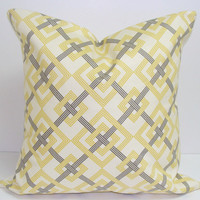 Ivory Pillow.Yellow.18x18 inch Decorator Pillow Cover.Printed Fabric Front and Back.Designer Pillow