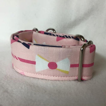 "Derby Main Pink Martingale or Quick Release Collar 1.5"" Martingale Collar or 1.5"" Quick Release Collar Buckle Collar Bow Tie Collar"