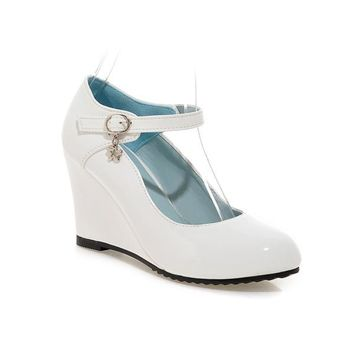 Shoes Women White Wedding Shoes Patent Leather Wedge Heels Round Toe High Heels Mary Jane Shoes Pink Black