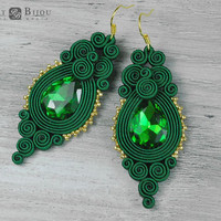 Green soutache earrings, Orecchini soutache, Soutache bilateral, Boucles d'oreilles soutache, Green jewelry, Green earrings, Gift for her