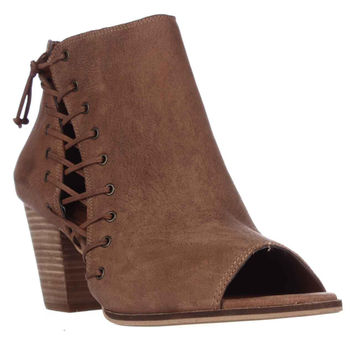 Lucky Brand Hartlee Side Lace Peep Toe Ankle Booties - Whiskey