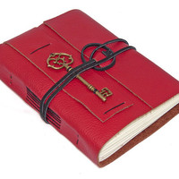 Red Leather Journal with Key Bookmark