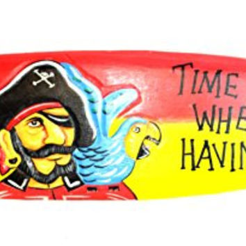 39 in Hand Carved TIME FLIES WHEN HAVING RUM Surfboard Wooden Wall Hanging Art Sign Tiki Bar