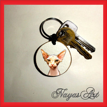 Cat Sphynx Keychain personalized. Cat kitten sphynx keyring.White Wooden Handmade Keyring Keychain.Unique keychain Wooden natural slice gift