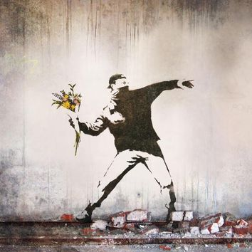 "Banksy Peace Art Graffiti Artist Fabric Poster 32"" x 24"" 20""x13""--03"