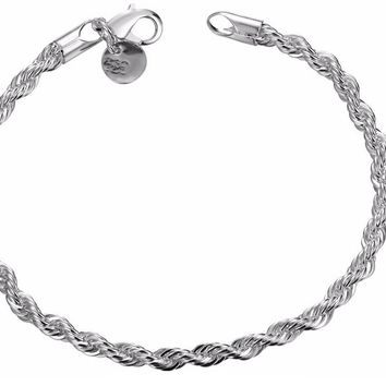Silver Plated Twist Bangle Cuff Charm Bracelet