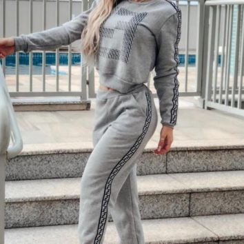 FENDI Women Casual Long Sleeve Top Pants Set Two-Piece gray