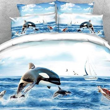3D Orcinus Orca Printed Luxury 4-Piece Bedding Sets/Duvet Covers