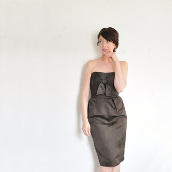 rich darkest brown cocktail dress . 1960 origami tie front wiggle fit .extra small.xs