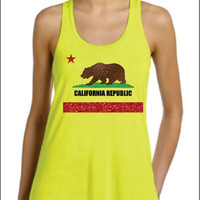 California Republic State Flag in Super Sparkle Glitter  Racer Back Flowy  Tank Top Cute Sexy Trendy Women Ladies Cali Lovers Will Love it