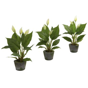 Artificial Plant -11 Inch Spathyfillum With Cement Planter -Set Of 3
