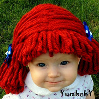 Raggedy ann wig Baby Hats Baby Girl Photo Prop Red Wig Gift Ideas Raggedy ann Costume Cap Baby Girl Baby Hat kids clothes