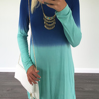 Like A Cool Drink Blue And Mint Long Sleeve Dip Dye Dress