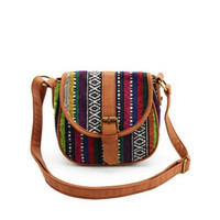WOVEN TRIBAL STRIPED CROSS-BODY SADDLE BAG