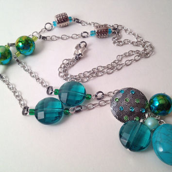 Aqua and teal long dangle necklace by MynisaUnique on Etsy