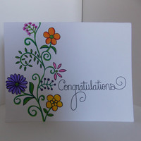 Congratulations Floral Handmade Greeting Card - Flowers and Vine - For Her - Graduation - Engagement - Wedding -
