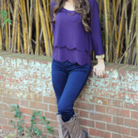 Simply Scalloped Top: Purple | Hope's