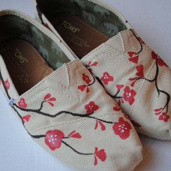 Hand Painted TOMS in Cherry Blossom Design, Custom Hand Painted Shoes