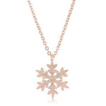 Noelle Rose Gold Stainless Steel Snowflake Necklace