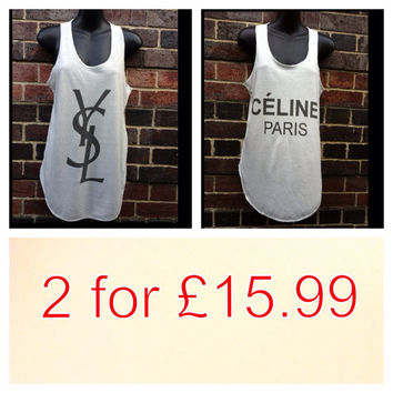 Ysl and celine paris tank tops vest ladies one size fits all.