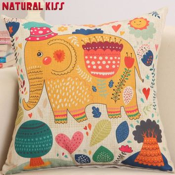Elephant Cushion Cotton/Linen Four Seasons Tree Decorative Throw Pillows Use For Home Sofa Car Office Cushion Almofadas Cojines